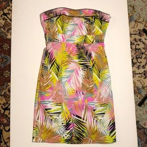 H&M Tropical Pink Yellow Neon Strapless Dress S